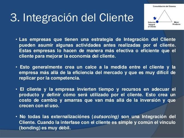 3. Integración del Cliente • Las empresas que tienen una estrategia de Integración del Cliente pueden asumir algunas activ...