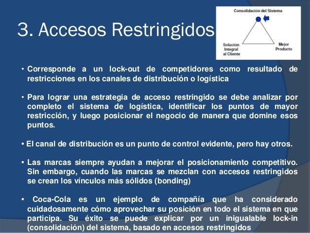 3. Accesos Restringidos • Corresponde a un lock-out de competidores como resultado de restricciones en los canales de dist...