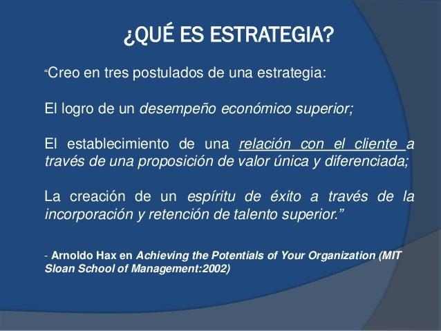 """¿QUÉ ES ESTRATEGIA? """"Creo en tres postulados de una estrategia: El logro de un desempeño económico superior; El establecim..."""