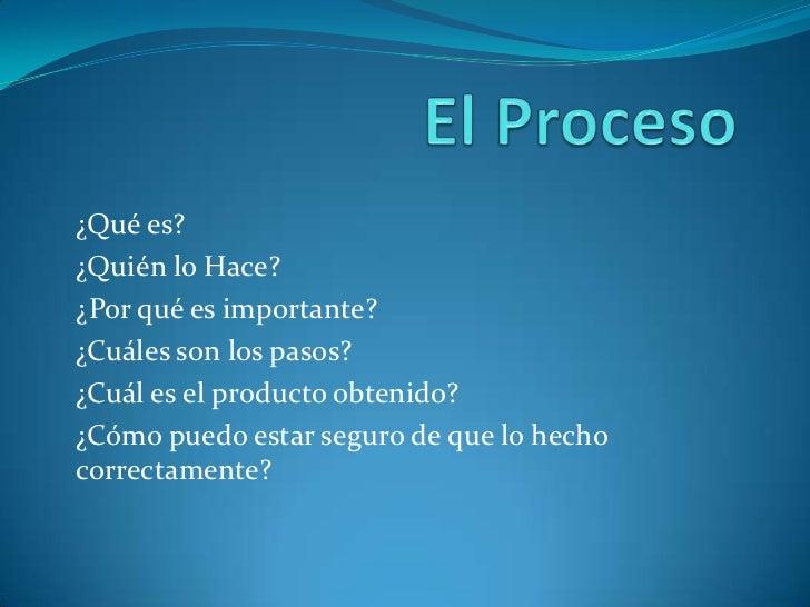 El Proceso<br />¿Qué es?<br />¿Quién lo Hace?<br />¿Por qué es importante?<br />¿Cuáles son los pasos?<br />¿Cuál es el pr...