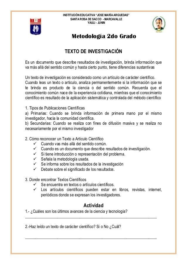 """INSTITUCIÓN EDUCATIVA """"JOSE MARÍA ARGUEDAS"""" SANTA ROSA DE SACCO - MARCAVALLE YAULI - JUNIN  Metodología 2do Grado TEXTO DE..."""