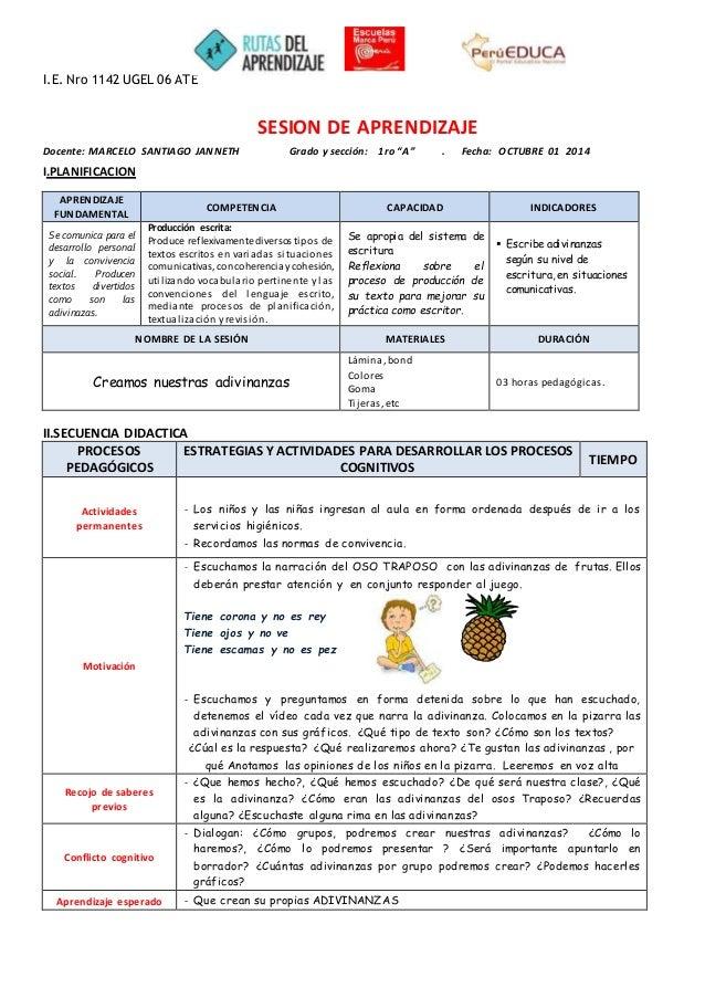 """I.E. Nro 1142 UGEL 06 ATE  Docente: MARCELO SANTIAGO JANNETH Grado y sección: 1ro """"A"""" . Fecha: OCTUBRE 01 2014  I.PLANIFIC..."""