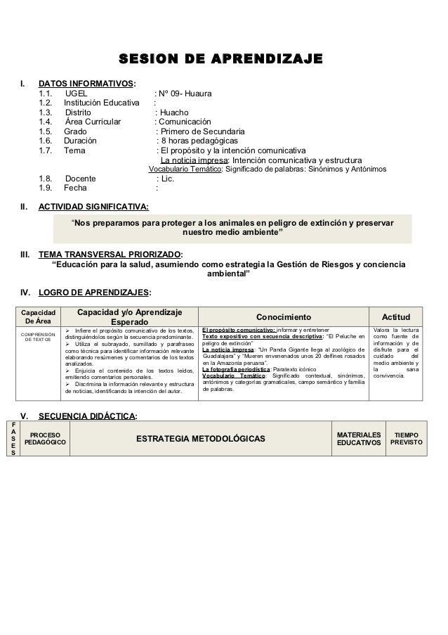 SESION DE APRENDIZAJE    I.     DATOS INFORMATIVOS:           1.1.  UGEL                               : Nº 09- Huaura    ...