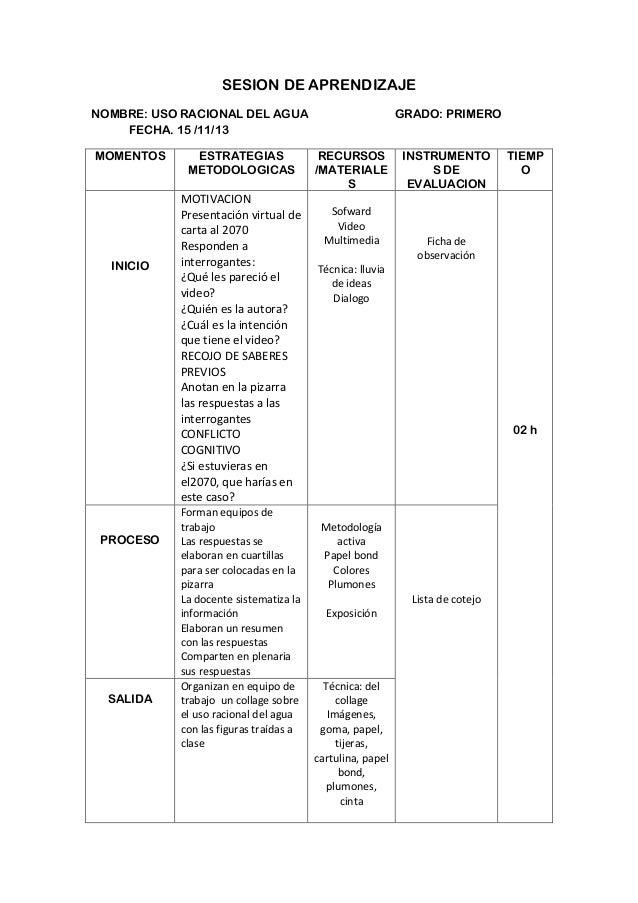 SESION DE APRENDIZAJE NOMBRE: USO RACIONAL DEL AGUA FECHA. 15 /11/13 MOMENTOS  INICIO  PROCESO  SALIDA  ESTRATEGIAS METODO...