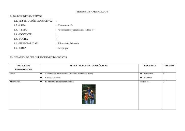 SESION DE APRENDIZAJEI.- DATOS INFORMATIVOS    1.1.- INSTITUCIÓN EDUCATIVA          :    1.2.-ÁREA                        ...