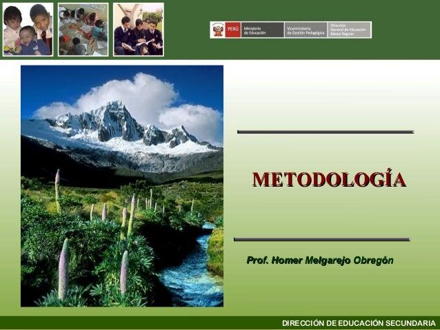 METODOLOGÍA  Prof. Homer Melgarejo Obregón  DIRECCIÓN DE EDUCACIÓN SECUNDARIA
