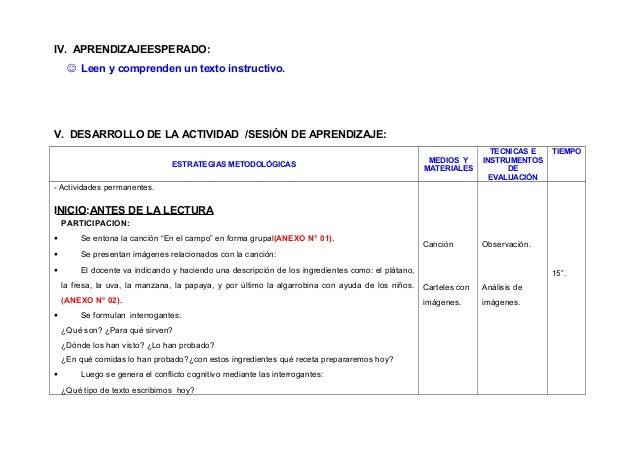 IV. APRENDIZAJEESPERADO:  Leen y comprenden un texto instructivo.  V. DESARROLLO DE LA ACTIVIDAD /SESIÓN DE APRENDIZAJE: ...