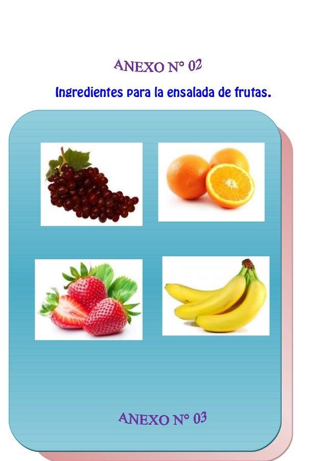 Ingredientes para la ensalada de frutas.