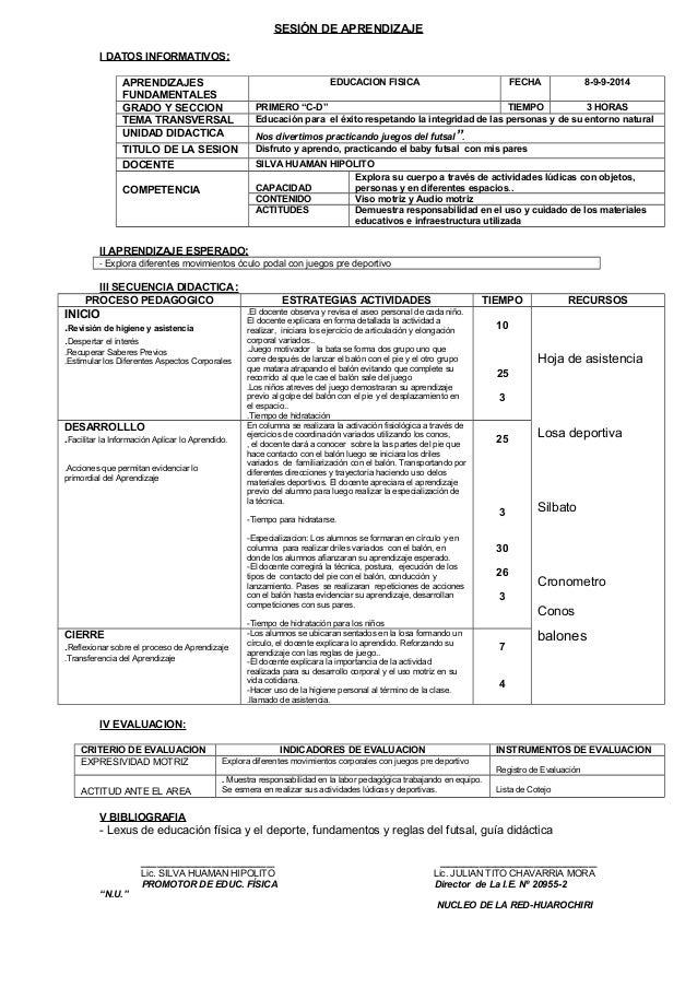 SESIÓN DE APRENDIZAJE  I DATOS INFORMATIVOS :  APRENDIZAJES  FUNDAMENTALES  EDUCACION FISICA FECHA 8-9-9-2014  GRADO Y SEC...