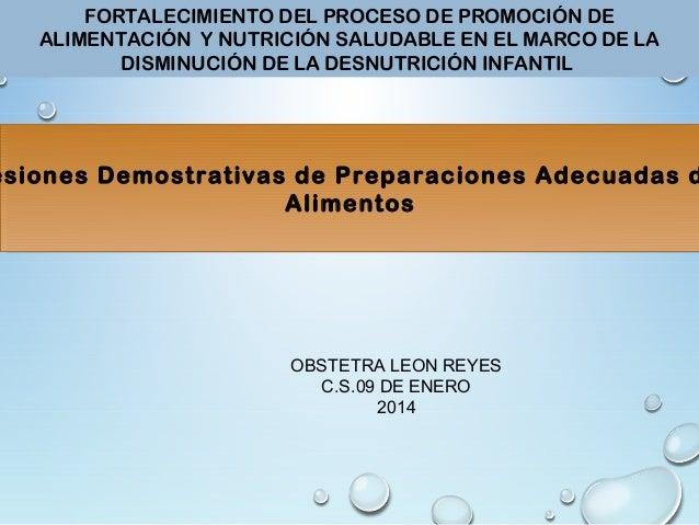 FORTALECIMIENTO DEL PROCESO DE PROMOCIÓN DE  ALIMENTACIÓN Y NUTRICIÓN SALUDABLE EN EL MARCO DE LA  DISMINUCIÓN DE LA DESNU...