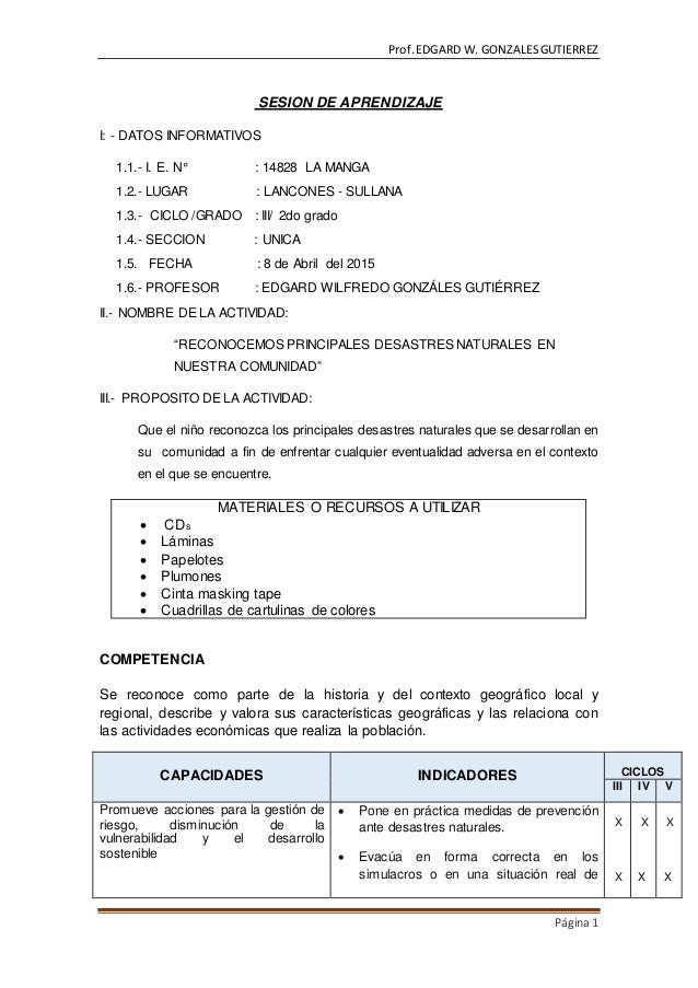 Prof.EDGARD W. GONZALESGUTIERREZ Página1 SESION DE APRENDIZAJE I: - DATOS INFORMATIVOS 1.1.- I. E. N° : 14828 LA MANGA 1.2...