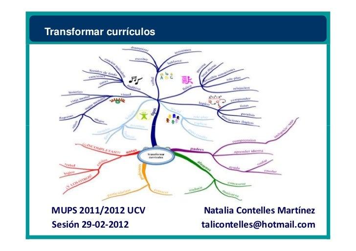 Transformar currículos MUPS 2011/2012 UCV       Natalia Contelles Martínez Sesión 29-02-2012       talicontelles@hotmail.com