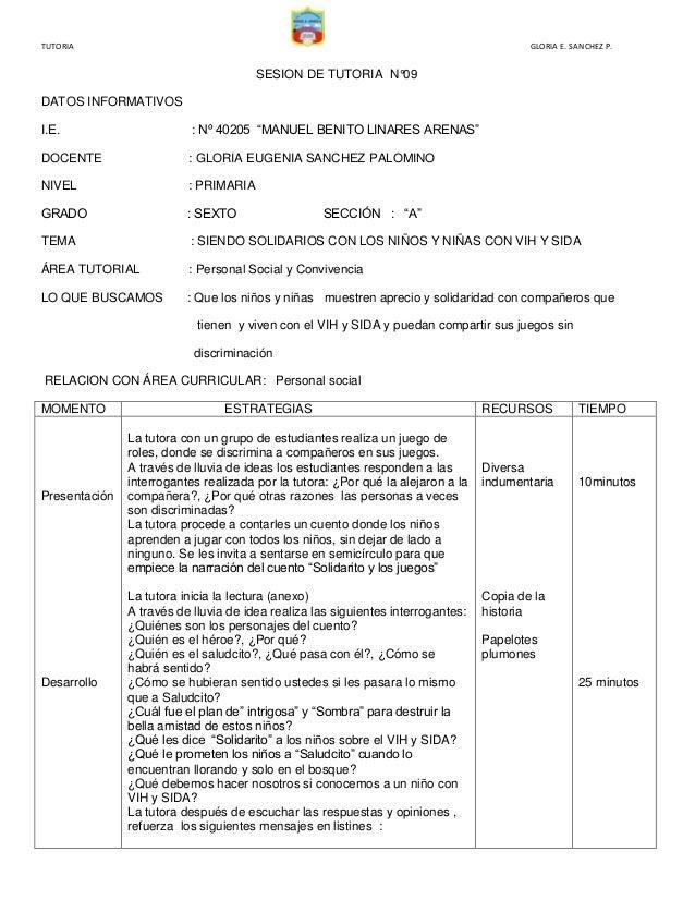 """TUTORIA  GLORIA E. SANCHEZ P.  SESION DE TUTORIA N°09 DATOS INFORMATIVOS I.E.  : Nº 40205 """"MANUEL BENITO LINARES ARENAS""""  ..."""
