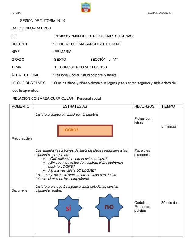 """TUTORIA  GLORIA E. SANCHEZ P.  SESION DE TUTORIA N°10 DATOS INFORMATIVOS I.E.  : Nº 40205 """"MANUEL BENITO LINARES ARENAS""""  ..."""