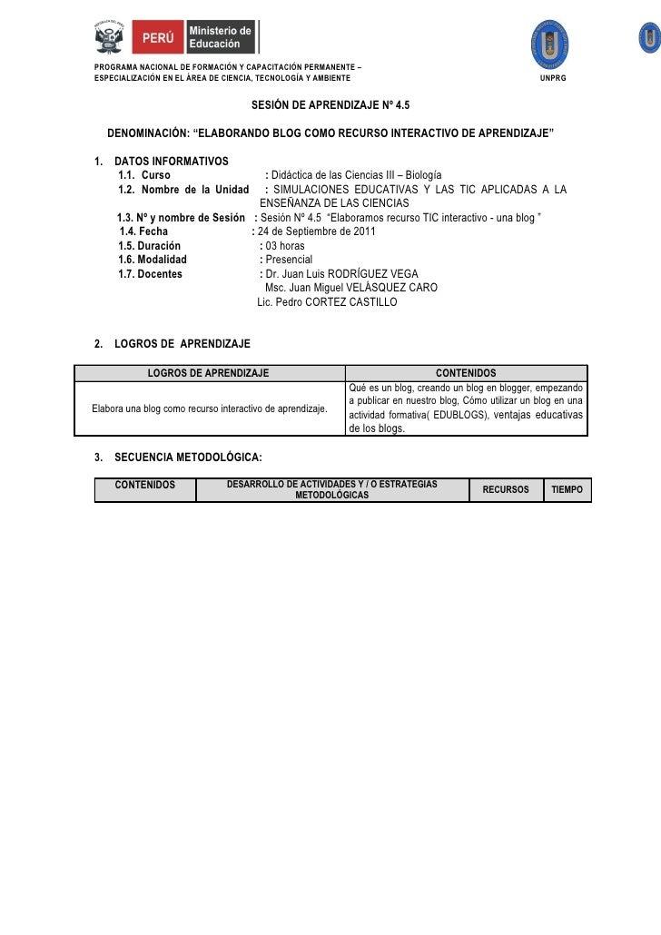 PROGRAMA NACIONAL DE FORMACIÓN Y CAPACITACIÓN PERMANENTE –ESPECIALIZACIÓN EN EL ÁREA DE CIENCIA, TECNOLOGÍA Y AMBIENTE    ...