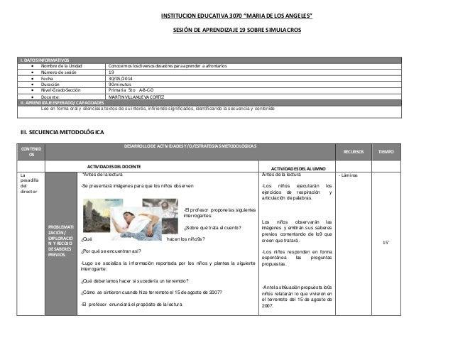 """INSTITUCION EDUCATIVA 3070 """"MARIA DE LOS ANGELES"""" SESIÓN DE APRENDIZAJE 19 SOBRE SIMULACROS III. SECUENCIAMETODOLÓGICA CON..."""