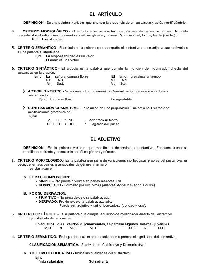 Se subdivide en: Adjetivo Epíteto y Explicativo •Ejm: de adjetivo epíteto (señala una cualidad inherente al sustantivo). E...