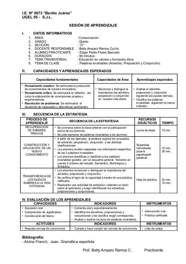 "I.E. Nº 0073 ""Benito Juárez"" UGEL 05 - S.J.L. SESIÓN DE APRENDIZAJE I. DATOS INFORMATIVOS 1. ÁREA : Comunicación 2. GRADO ..."