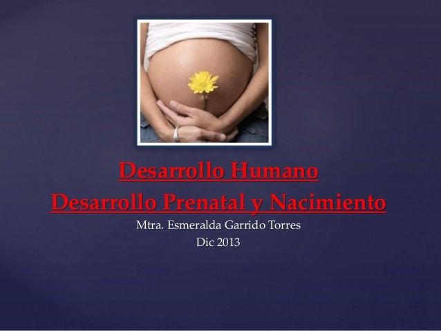 Desarrollo Humano Desarrollo Prenatal y Nacimiento Mtra. Esmeralda Garrido Torres Dic 2013