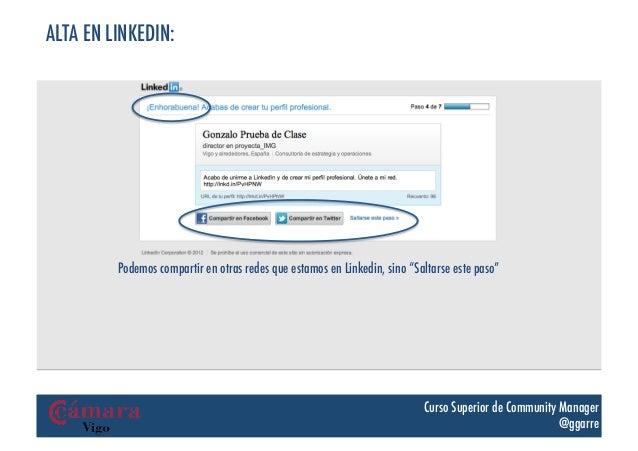 """ALTA EN LINKEDIN:         Podemos compartir en otras redes que estamos en Linkedin, sino """"Saltarse este paso""""             ..."""