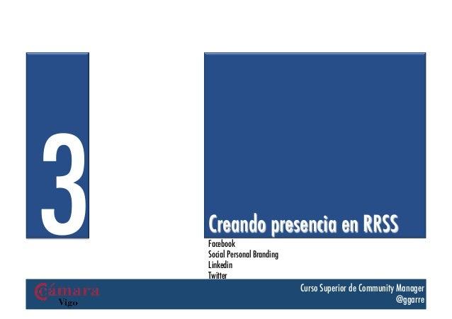 3   Creando presencia en RRSS    Facebook    Social Personal Branding    Linkedin    Twitter                              ...