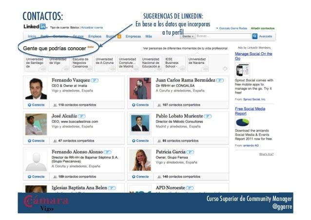CONTACTOS:      SUGERENCIAS DE LINKEDIN:             En base a los datos que incorporas                         a tu perfil...