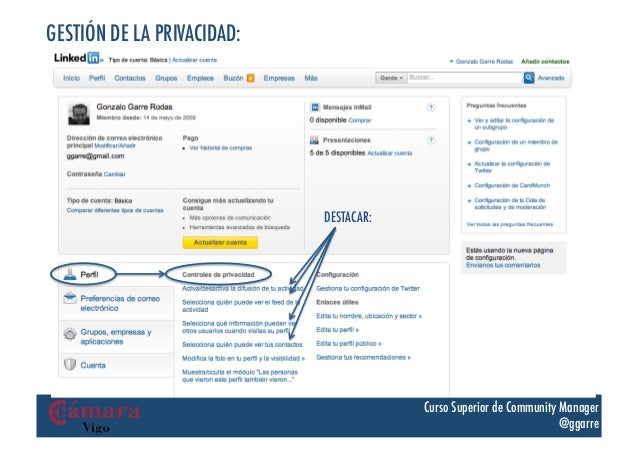 GESTIÓN DE LA PRIVACIDAD:                            DESTACAR:                                        Curso Superior de Co...
