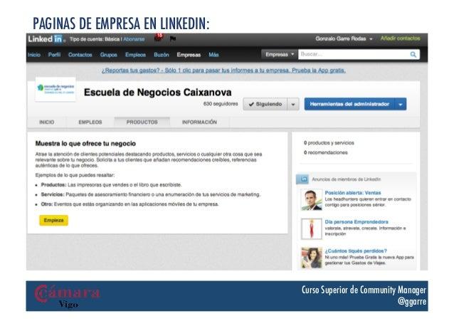 PAGINAS DE EMPRESA EN LINKEDIN:                                  Curso Superior de Community Manager                      ...