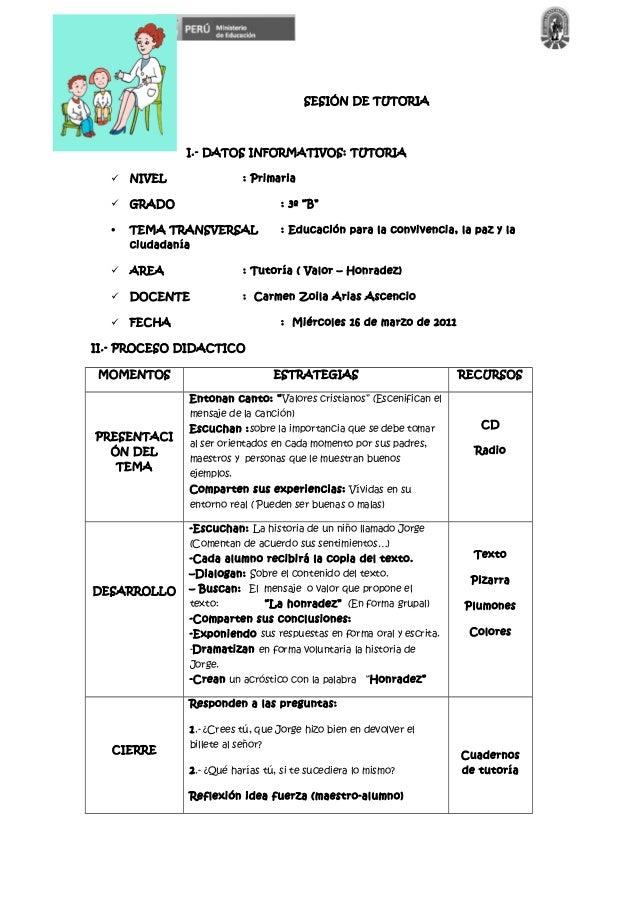 """SESIÓN DE TUTORIA I.- DATOS INFORMATIVOS: TUTORIA  NIVEL : Primaria  GRADO : 3º """"B"""" • TEMA TRANSVERSAL : Educación para ..."""