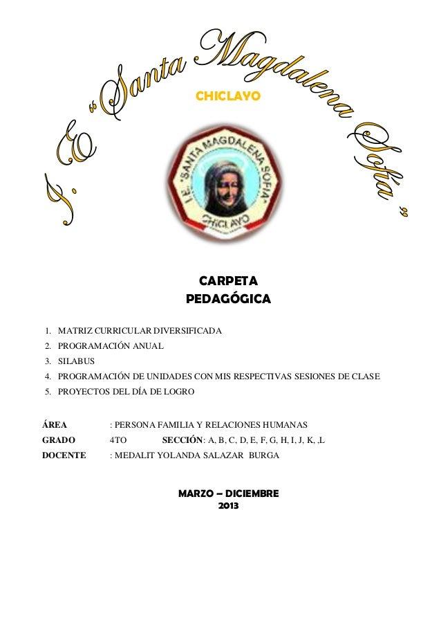 CHICLAYO  CARPETA PEDAGÓGICA 1. MATRIZ CURRICULAR DIVERSIFICADA 2. PROGRAMACIÓN ANUAL 3. SILABUS 4. PROGRAMACIÓN DE UNIDAD...