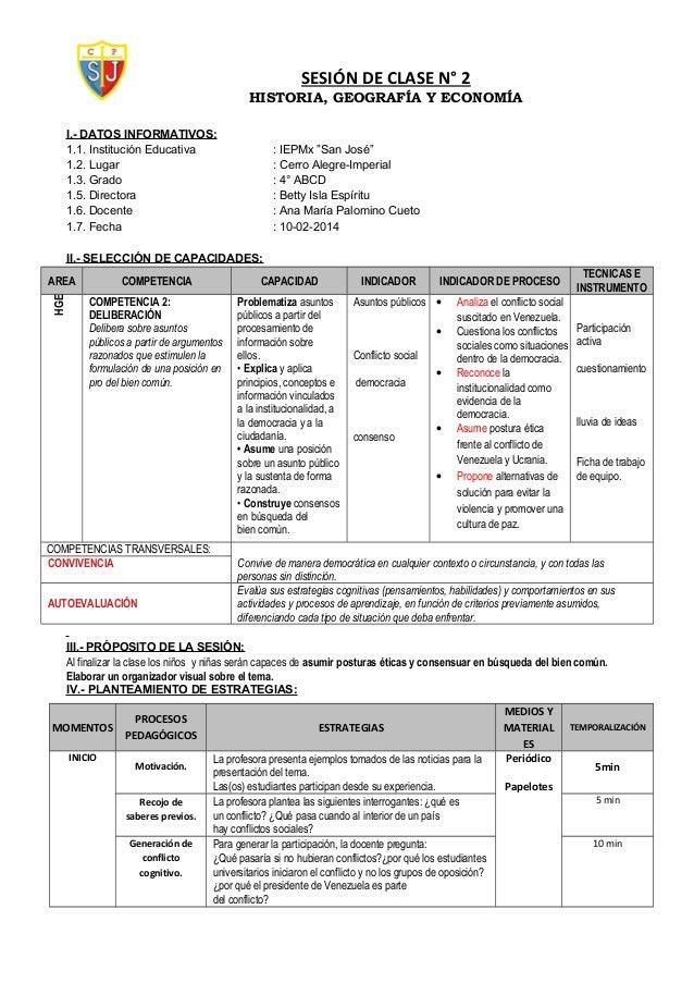 """SESIÓN DE CLASE N° 2 HISTORIA, GEOGRAFÍA Y ECONOMÍA I.- DATOS INFORMATIVOS: 1.1. Institución Educativa : IEPMx """"San José"""" ..."""