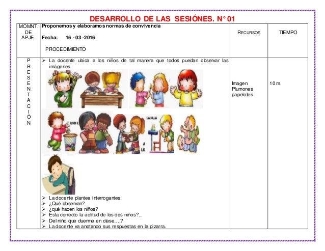 DESARROLLO DE LAS SESIÓNES. N° 01 MOMNT. DE APJE. Proponemos y elaboramos normas de convivencia Fecha: 16 - 03 -2016 PROCE...