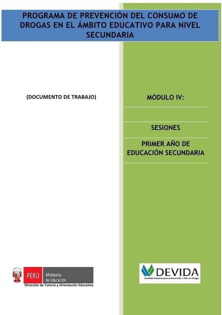 PROGRAMA DE PREVENCIÓN DEL CONSUMO DE          PROGRAMA DE PREVENCIÓN DEL CONSUMO DE DROGAS EN EL ÁMBITO EDUCATIVO PARA NI...