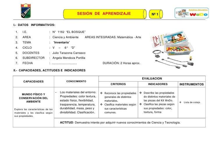 """SESIÓN DE APRENDIZAJE                               Nº 1I.- DATOS INFORMATIVOS: 1.    I.E.                   : N° 1182 """"EL..."""