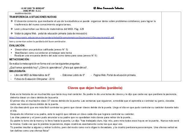 """I.E.Nº 1182 """"EL BOSQUE""""                                               47 Años Formando Talentos              UGEL Nº 05 – ..."""