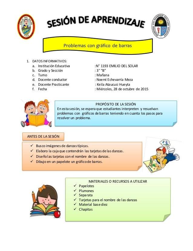 """1. DATOS INFORMATIVOS: a. Institución Educativa :N° 1193 EMILIO DEL SOLAR b. Grado y Sección : 3° """"B"""" c. Turno : Mañana d...."""