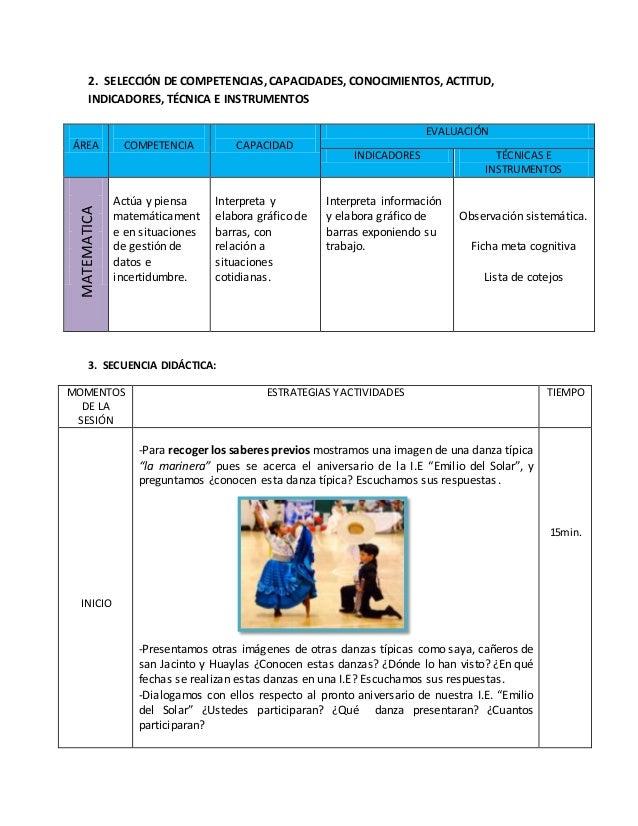2. SELECCIÓN DE COMPETENCIAS, CAPACIDADES, CONOCIMIENTOS, ACTITUD, INDICADORES, TÉCNICA E INSTRUMENTOS 3. SECUENCIA DIDÁCT...