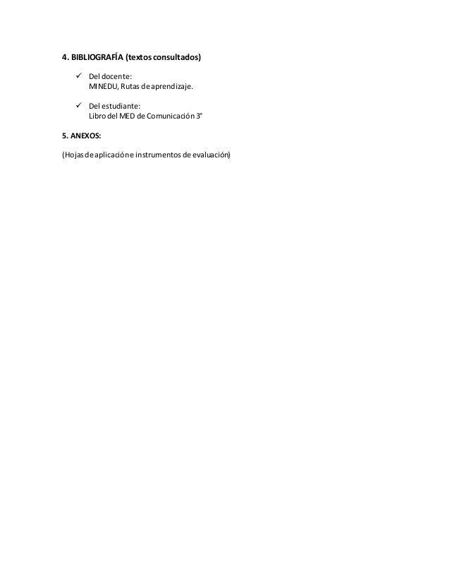 4. BIBLIOGRAFÍA (textos consultados)  Del docente: MINEDU, Rutas de aprendizaje.  Del estudiante: Librodel MED de Comuni...