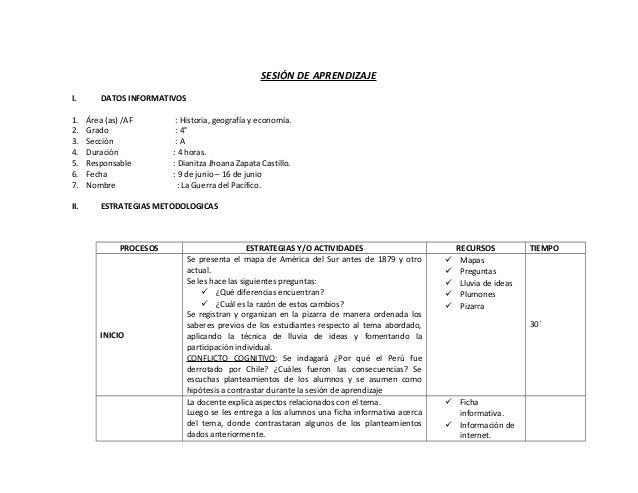 SESIÓN DE APRENDIZAJE I. DATOS INFORMATIVOS 1. Área (as) /AF : Historia, geografía y economía. 2. Grado : 4° 3. Sección : ...