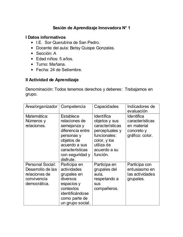 Sesión de Aprendizaje Innovadora N° 1 I Datos informativos • I.E. Sor Querubina de San Pedro. • Docente del aula: Betsy Qu...