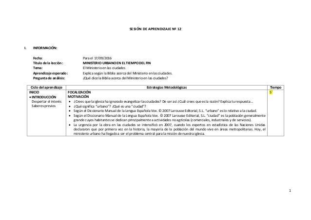 1 SESIÓN DE APRENDIZAJE Nº 12 I. INFORMACIÓN: Fecha: Para el 17/09/2016 Título de la lección: MINISTERIO URBANO EN EL TIEM...