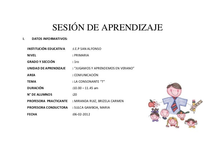 SESIÓN DE APRENDIZAJEI.     DATOS INFORMATIVOS:     INSTITUCIÓN EDUCATIVA   :I.E.P SAN ALFONSO     NIVEL                  ...