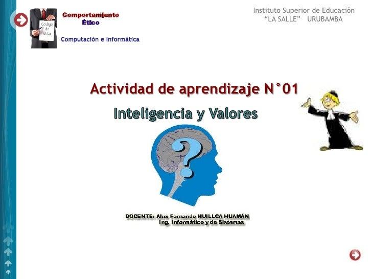 """Instituto Superior de EducaciónComportamiento    Ético                       """"LA SALLE"""" URUBAMBA      Actividad de aprendi..."""