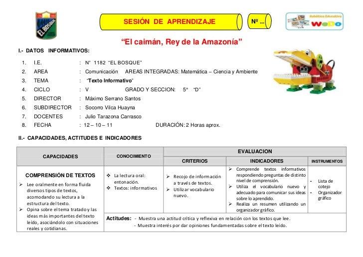 """SESIÓN DE APRENDIZAJE                                        Nº ...                                              """"El caimá..."""