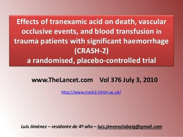 Effects of tranexamic acid on death, vascular occlusive events, and blood transfusion in trauma patients with significant ...