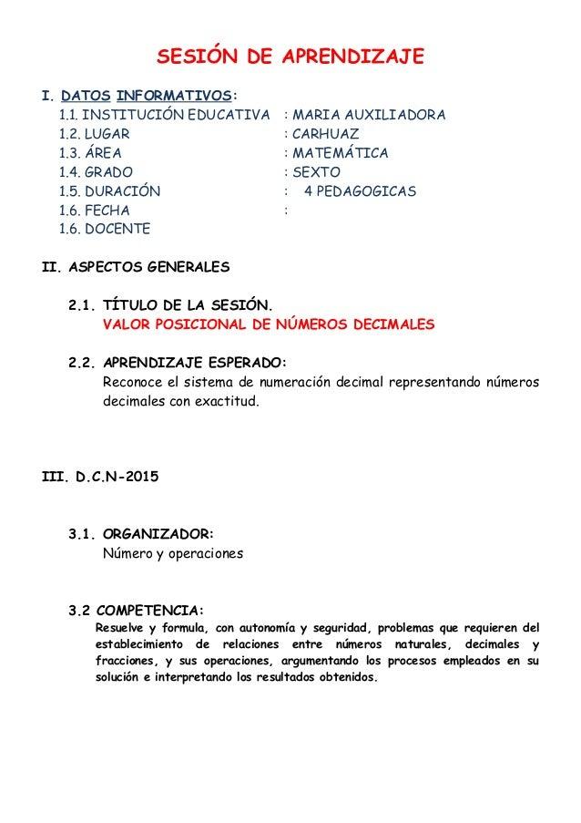 SESIÓN DE APRENDIZAJE I. DATOS INFORMATIVOS: 1.1. INSTITUCIÓN EDUCATIVA : MARIA AUXILIADORA 1.2. LUGAR : CARHUAZ 1.3. ÁREA...