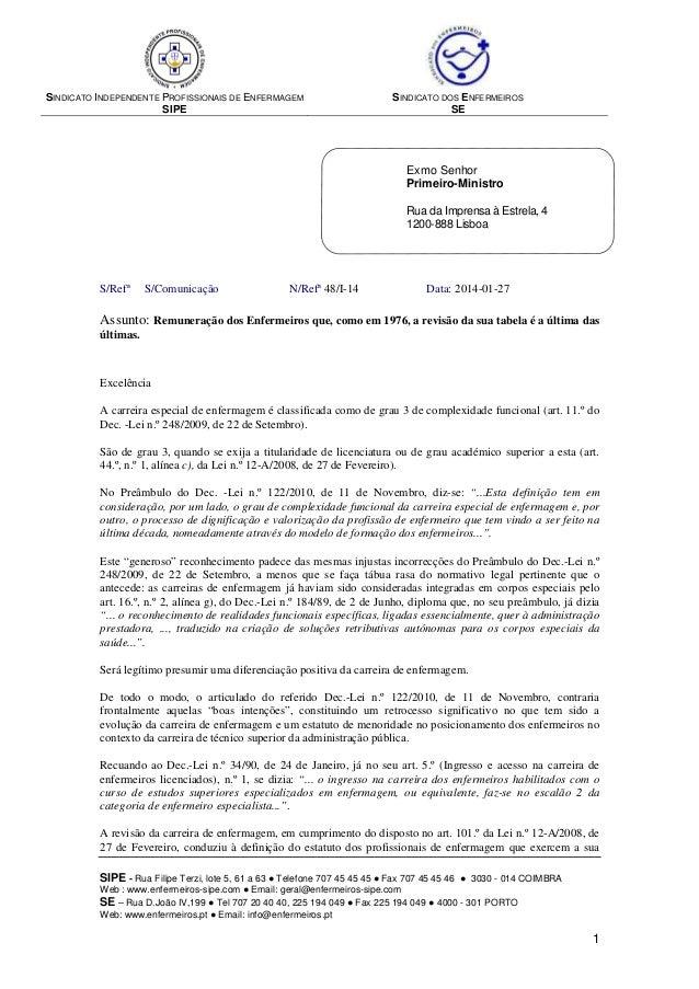 SINDICATO INDEPENDENTE PROFISSIONAIS DE ENFERMAGEM  SIPE  SINDICATO DOS ENFERMEIROS  SE  Exmo Senhor  Primeiro-Ministro  R...