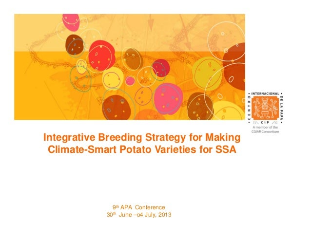 Integrative Breeding Strategy for Making Climate-Smart Potato Varieties for SSA 9th APA Conference 30th June –o4 July, 2013