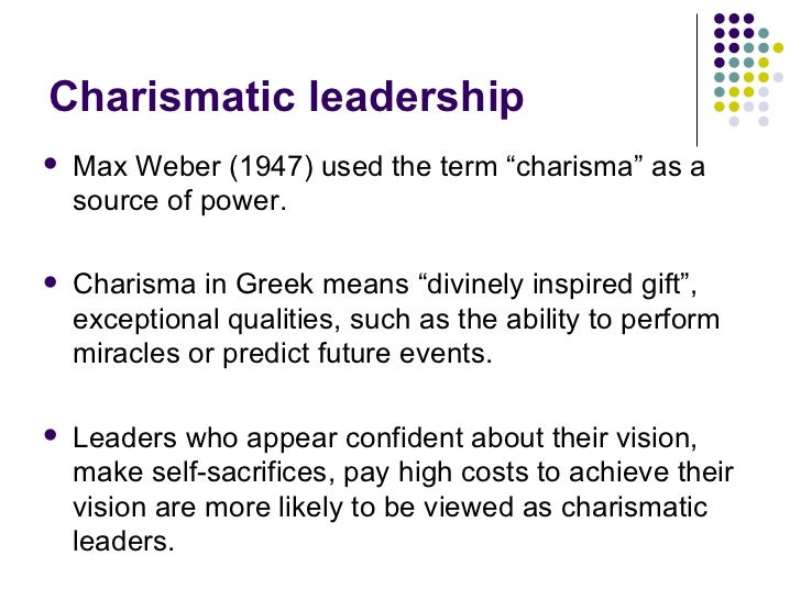 "the gifts and dangers of charisma in leaders To weber (1946, 245), charisma was viewed in terms of supernatural ""gifts of   effects of charismatic leadership, shamir, house, and arthur (1993) examine."