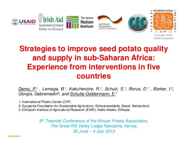 Strategies to improve seed potato quality and supply in sub-Saharan Africa: Experience from interventions in five countrie...
